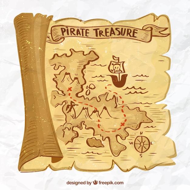 Fundo do mapa do tesouro desenhado à mão Vetor grátis