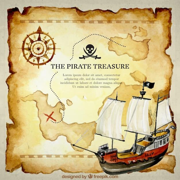 Fundo do mapa do tesouro e barco aquarela Vetor Premium