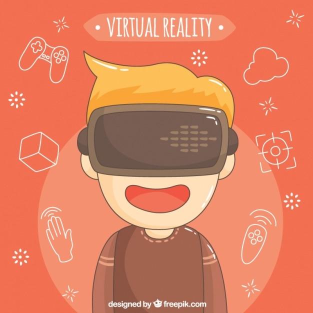 Fundo do menino com óculos de realidade virtual Vetor grátis