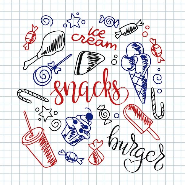 Fundo do menu de fast-food. batatas fritas, hambúrguer, batata-doce frita, sorvete de cachorro-quente Vetor grátis