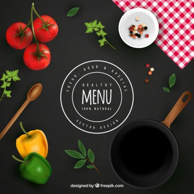 Fundo do menu saudável Vetor grátis