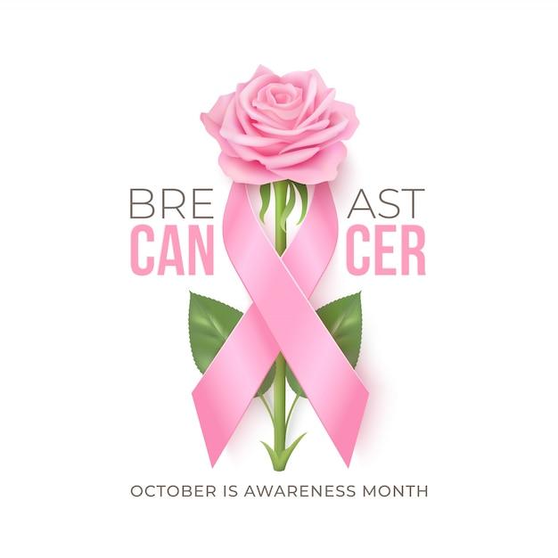 Fundo do mês de conscientização do câncer de mama com fita rosa e rosa Vetor Premium