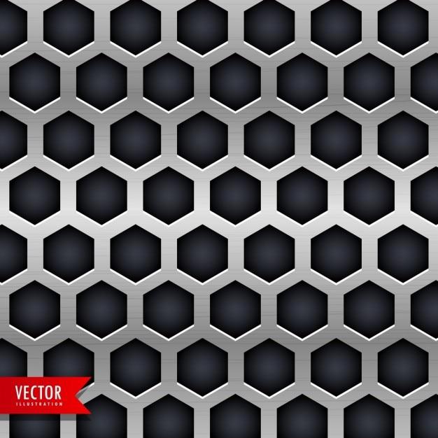 Fundo do metal com furos de formas hexagonais Vetor grátis