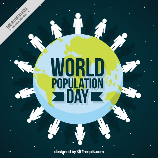 Fundo do mundo com as pessoas para o dia da população Vetor grátis