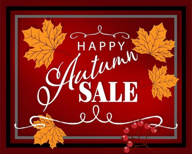 Fundo do outono com texto da venda do outono olá! Vetor Premium