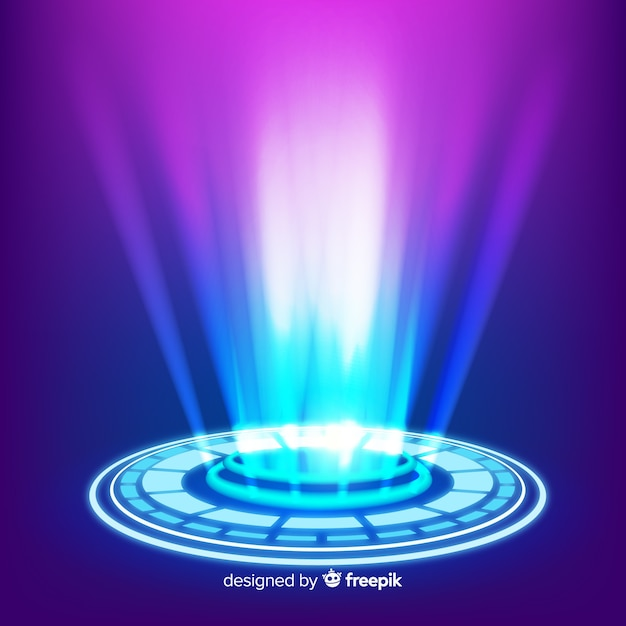 Fundo do portal holograma azul realista Vetor grátis