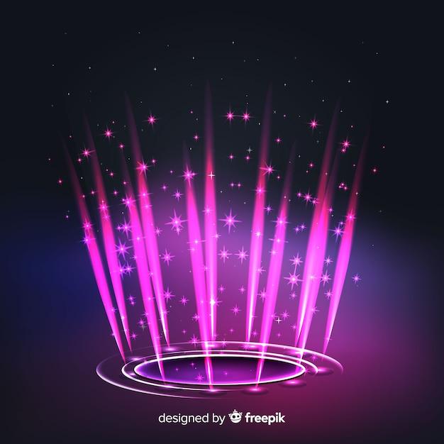 Fundo do portal holograma rosa realista Vetor grátis
