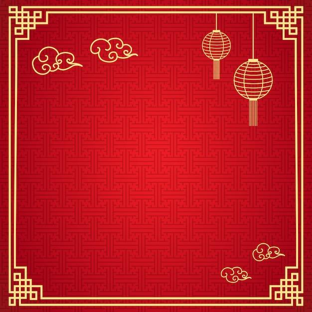Fundo do quadro chinês Vetor Premium