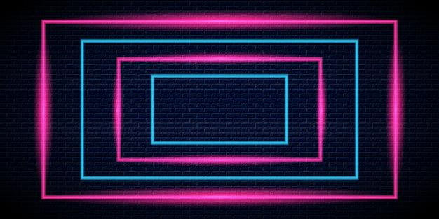 Fundo do quadro de luz neon Vetor Premium