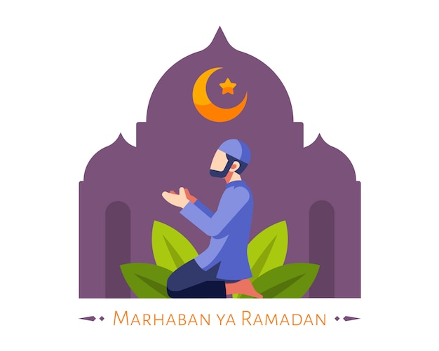 Fundo do ramadã com homem muçulmano rezar na mesquita Vetor Premium
