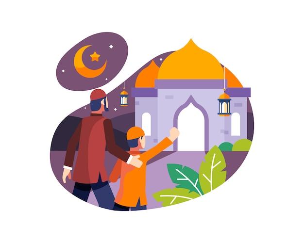 Fundo do ramadã com pai e filho ir à mesquita para rezar à noite Vetor Premium