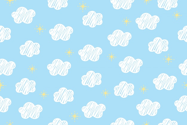 Fundo do teste padrão da nuvem. Vetor Premium