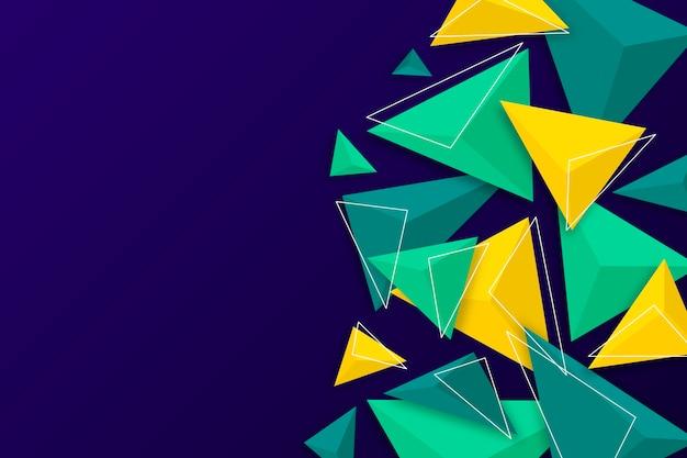Fundo do triângulo 3d com cores vivas Vetor Premium