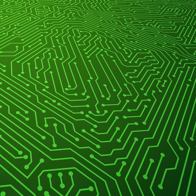 Fundo do vetor esquema elétrico. conceito de componentes de placa de circuito Vetor Premium