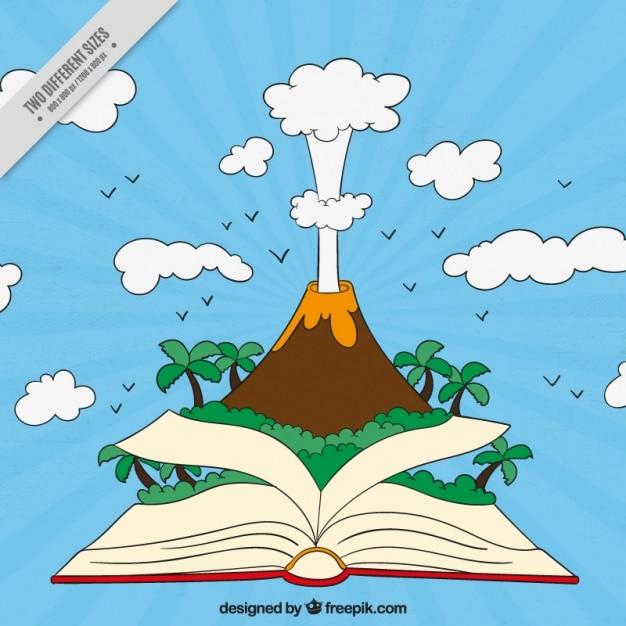 Fundo do vulcão que sai de um livro Vetor grátis