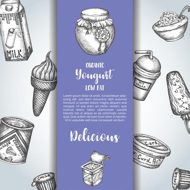 Fundo doce de leite com iogurte e sorvete Vetor Premium