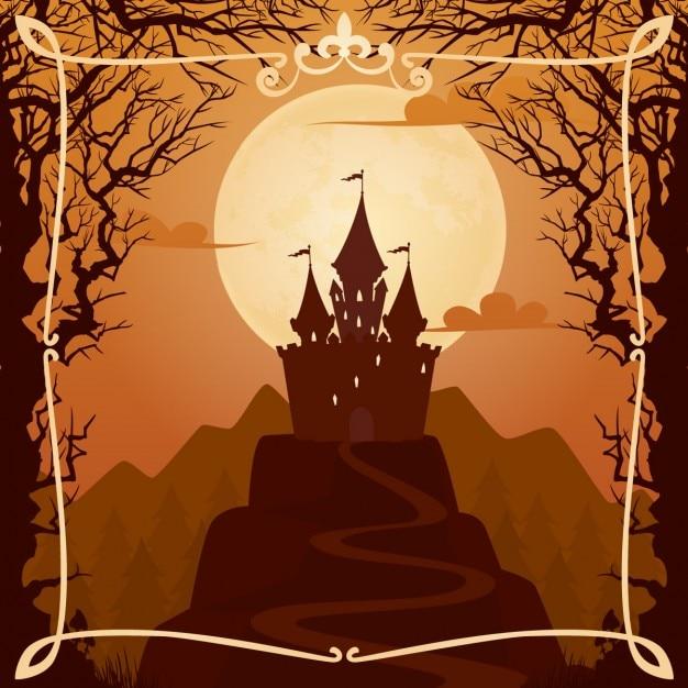 Fundo dos desenhos animados com o castelo no monte Vetor grátis