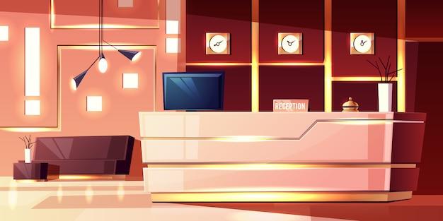 Fundo dos desenhos animados da recepção do hotel, foyer acolhedor. mesa moderna, iluminação do salão vazio. Vetor grátis