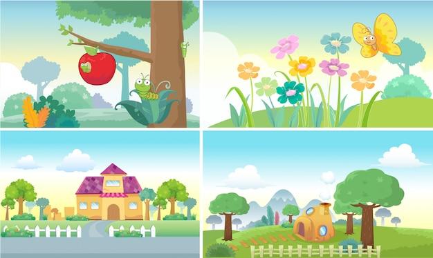 Fundo dos desenhos animados fofo Vetor Premium