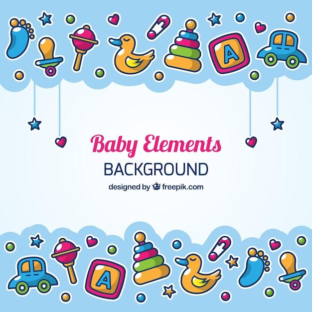 Fundo dos elementos do bebê em estilo desenhado a mão Vetor grátis