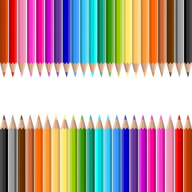 Fundo dos lotes de lápis de cor Vetor grátis