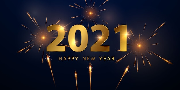 Fundo dourado 2021 feliz ano novo Vetor Premium