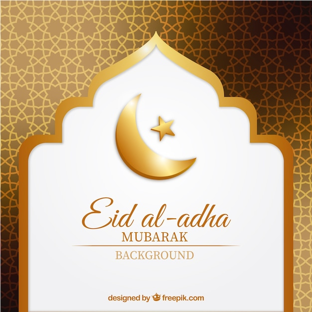 Fundo dourado abstrato de Eid al-Adha Vetor grátis