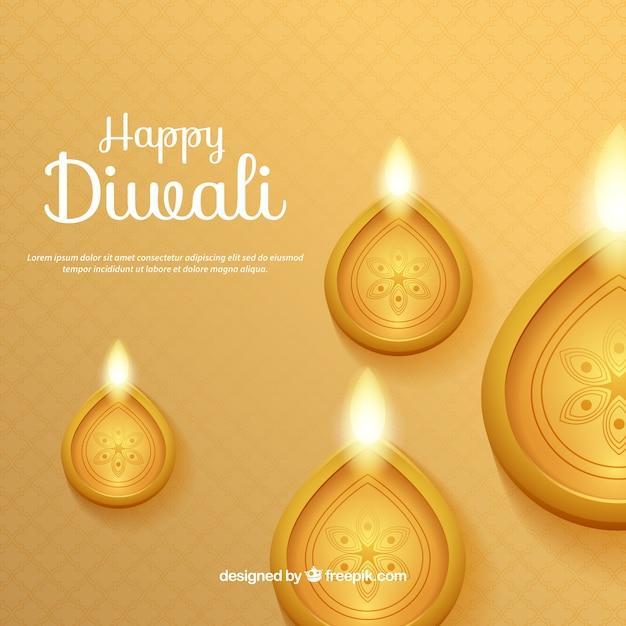 Fundo dourado com velas de diwali Vetor grátis