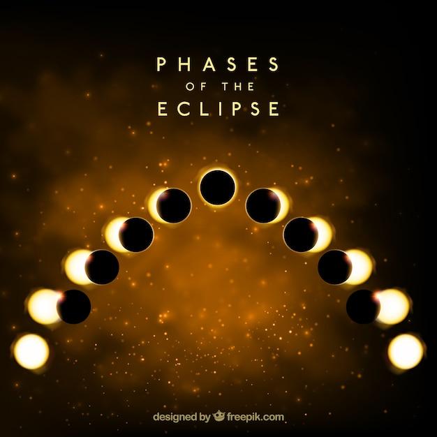Fundo dourado das fases do eclipse Vetor grátis