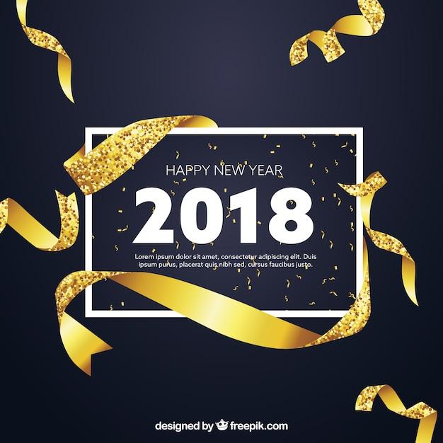 Fundo dourado de ano novo com estilo realista Vetor grátis