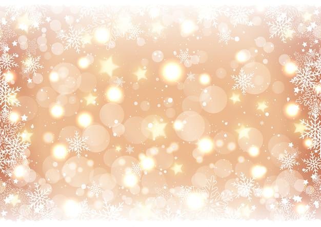 Fundo dourado de natal com luzes e estrelas bokeh Vetor grátis