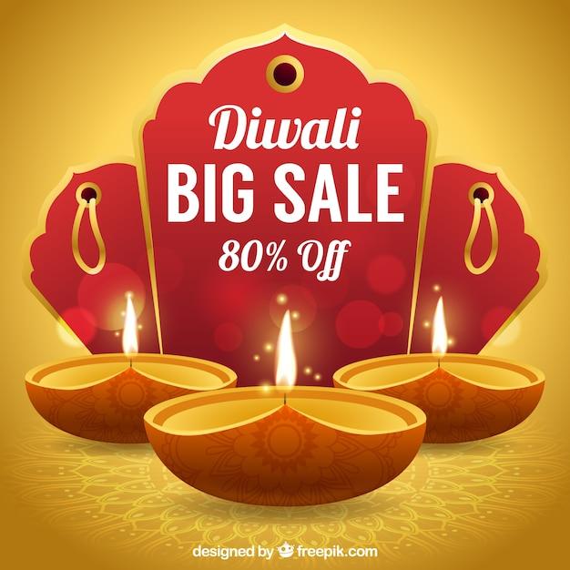 Fundo dourado de vendas de diwali Vetor grátis