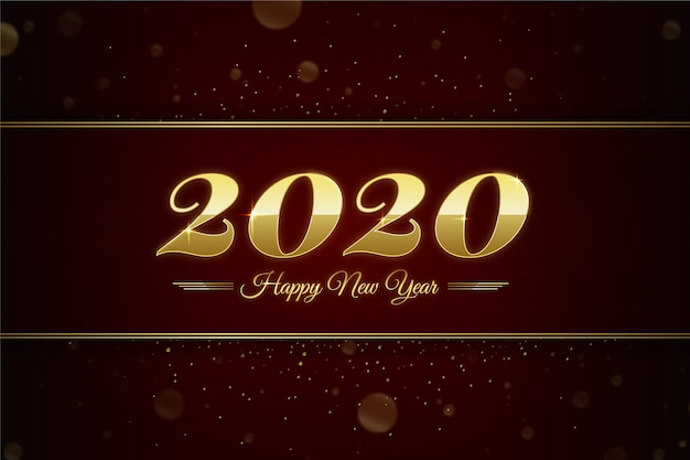 Fundo dourado do ano novo 2020 Vetor grátis