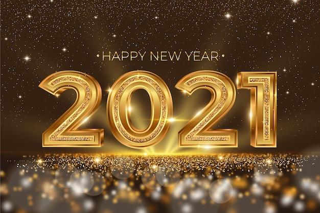 Fundo dourado do ano novo 2021 Vetor grátis
