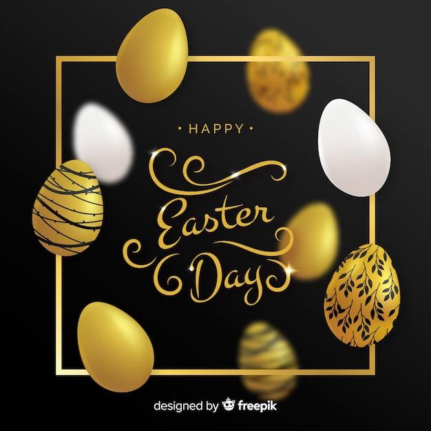 Fundo dourado do dia de easter dos ovos decorados Vetor grátis