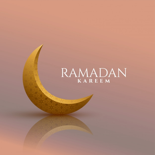 Fundo dourado do ramadan kareem da lua 3d Vetor grátis