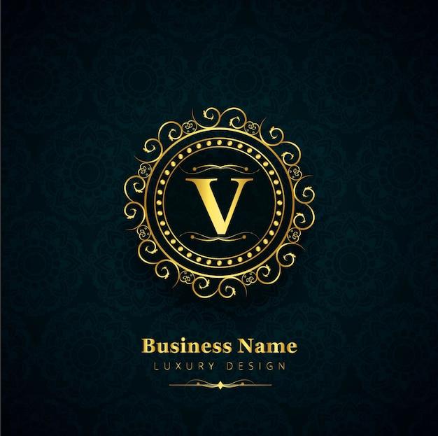 Fundo dourado moderno do logotipo floral Vetor grátis