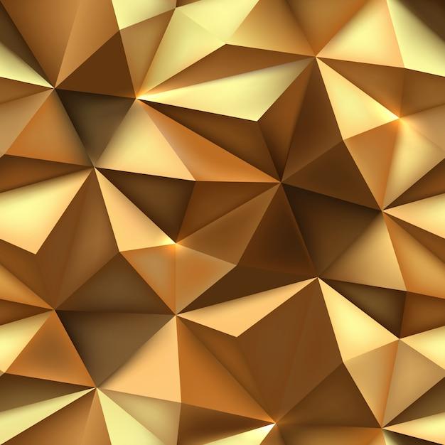 Fundo dourado textura abstrata triângulo dourado. Vetor Premium