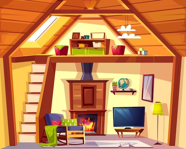 Fundo duplex acolhedor. interior dos desenhos animados da sala de jogos - lugar de criança e sala de estar Vetor grátis