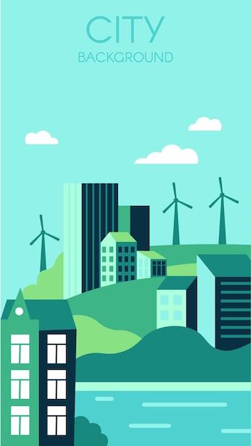 Fundo ecológico da cidade. paisagem urbana com altos edifícios modernos e colinas. Vetor Premium
