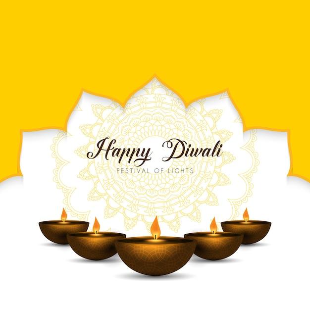 Fundo elegante de diwali com lâmpadas a óleo e desenho de mandala Vetor Premium