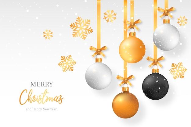 Fundo elegante de natal com bolas de natal elegante Vetor grátis