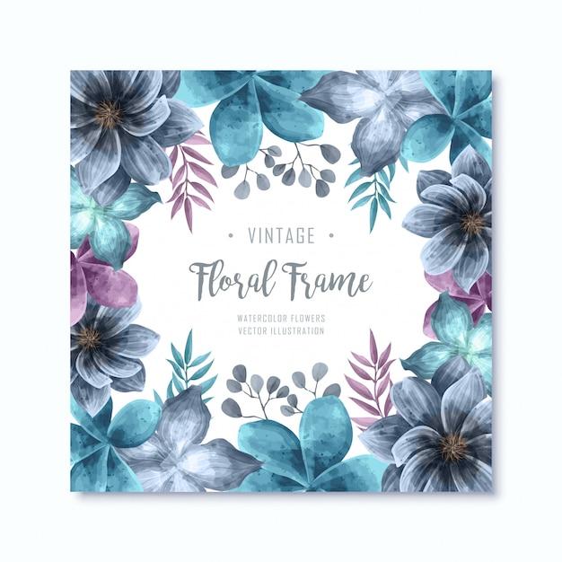 Fundo elegante do quadro das flores florais da aguarela azul Vetor Premium