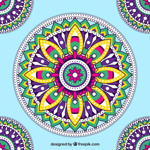 Fundo elegante mandala colorida Vetor grátis