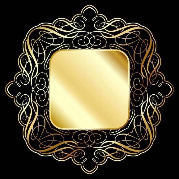 Fundo elegante moldura de ouro Vetor grátis