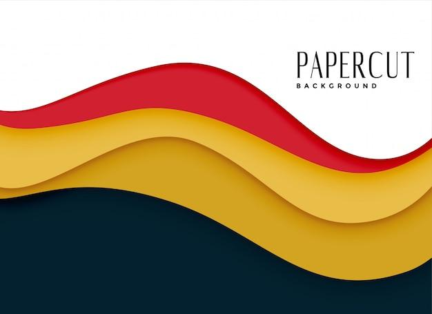 Fundo elegante papercut em estilo ondulado Vetor grátis