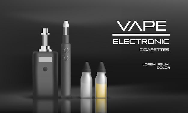 Fundo eletrônico conceito vape. ilustração realista do conceito de vetor eletrônico vape fundo para web design Vetor Premium