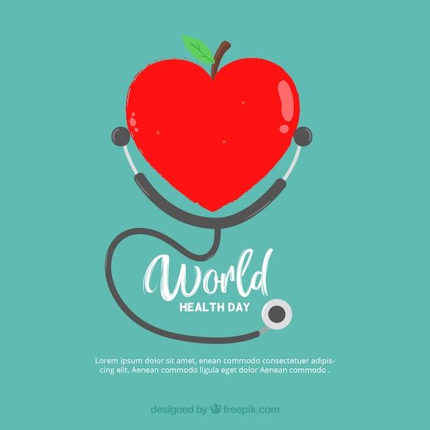 Fundo em forma de coração de maçã Vetor grátis