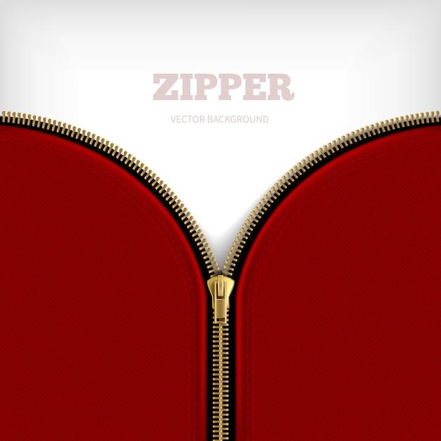 Fundo em zíper em branco com zíper meio metálico aberto dourado com rebordo preto costurado Vetor grátis