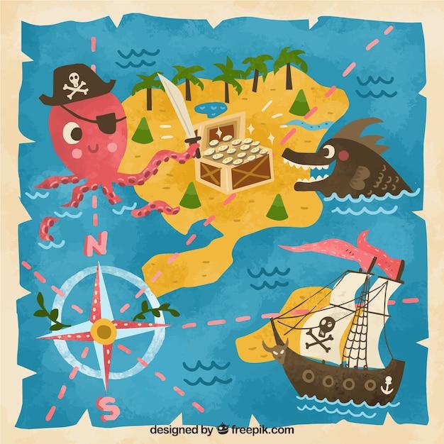 Fundo engraçado do mapa do tesouro do vintage Vetor grátis